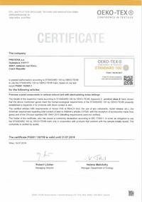 Certificazione OEKO-TEX Standard 100 - Miniatura