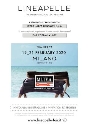 Invito Lineapelle 2020_02 – Mitea / Alfa Centauri S.p.A.