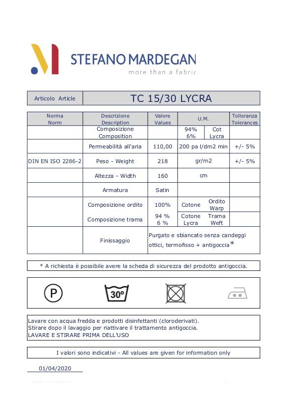 Tessuto elasticizzato misto cotone/lycra TC 15/30 - Copertina